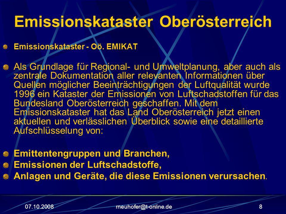 07.10.2008rneuhofer@t-online.de8 Emissionskataster Oberösterreich Emissionskataster - Oö. EMIKAT Als Grundlage für Regional- und Umweltplanung, aber a
