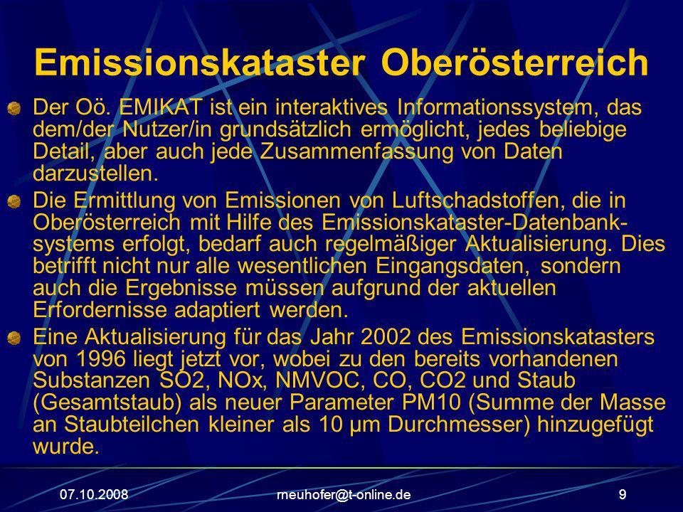 07.10.2008rneuhofer@t-online.de10 Emissionskataster Oberösterreich Die wichtigsten Emissionsquellen Oberösterreichs sind die Sachgütererzeugung (für SO2 und CO2, aber auch CO und PM10), der Bodenverkehr (also vor allem der Straßenverkehr: NOx, Staub, sowie PM10) und die privaten Haushalte (NMVOC, CO).