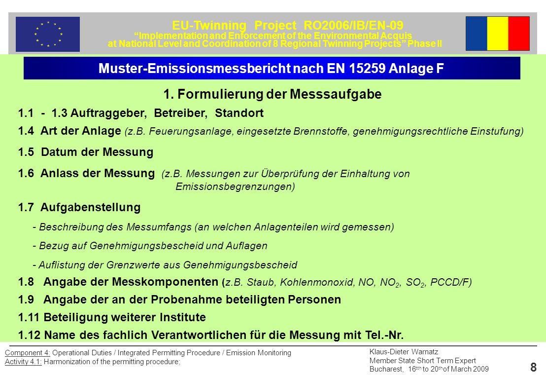 EU-Twinning Project RO2006/IB/EN-09 Implementation and Enforcement of the Environmental Acquis at National Level and Coordination of 8 Regional Twinning Projects Phase II Klaus-Dieter Warnatz Member State Short Term Expert Bucharest, 16 tth to 20 th of March 2009 19 Component 4: Operational Duties / Integrated Permitting Procedure / Emission Monitoring Activity 4.1: Harmonization of the permitting procedure; Staubmessungen Beispiel einer Staubprobenahmeeinrichtung mit Planfilterkopfgerät (in-stack) und Absorptionssystem für filtergängige Staubinhaltsstoffe 1: Trockenturm2: Manometer 3: Gasvolumenmessgerät (trocken) mit Thermometer 4: Durchflussmessgerät (Schwebekörper) 5: Regelventil6: Vakuumpumpe