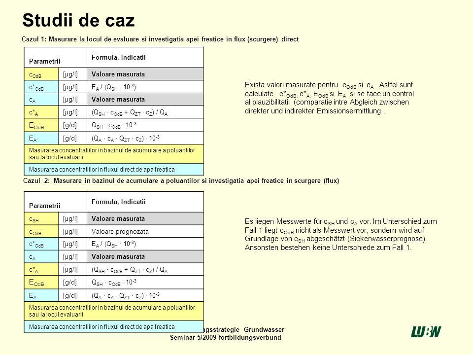 10Untersuchungsstrategie Grundwasser Seminar 5/2009 fortbildungsverbund Parametrii Formula, Indicatii c OdB [µg/l]Valoare masurata c* OdB [µg/l]E A /