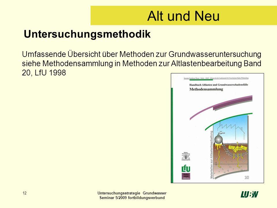 12Untersuchungsstrategie Grundwasser Seminar 5/2009 fortbildungsverbund Untersuchungsmethodik Umfassende Übersicht über Methoden zur Grundwasserunters