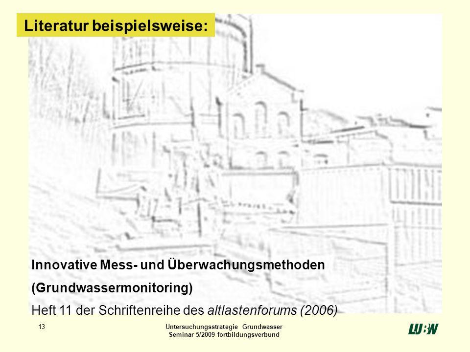 13Untersuchungsstrategie Grundwasser Seminar 5/2009 fortbildungsverbund Innovative Mess- und Überwachungsmethoden (Grundwassermonitoring) Heft 11 der