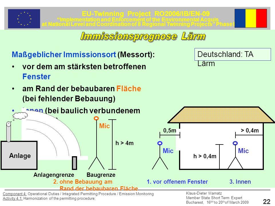 EU-Twinning Project RO2006/IB/EN-09 Implementation and Enforcement of the Environmental Acquis at National Level and Coordination of 8 Regional Twinning Projects Phase II Klaus-Dieter Warnatz Member State Short Term Expert Bucharest, 16 tth to 20 th of March 2009 22 Component 4: Operational Duties / Integrated Permitting Procedure / Emission Monitoring Activity 4.1: Harmonization of the permitting procedure; Maßgeblicher Immissionsort (Messort): vor dem am stärksten betroffenen Fenster am Rand der bebaubaren Fläche (bei fehlender Bebauung) Innen (bei baulich verbundenem Gebäude) h > 0,4m Mic 2.