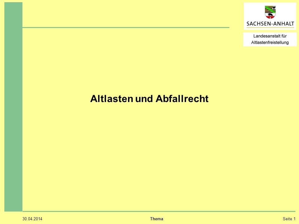 30.04.2014 ThemaSeite 1 Altlasten und Abfallrecht