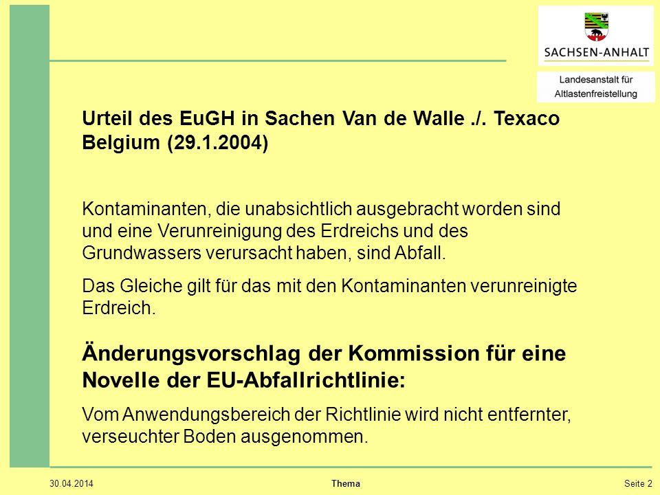 30.04.2014 ThemaSeite 3 Ausgehobener kontaminierter Boden ist grundsätzlich Abfall.