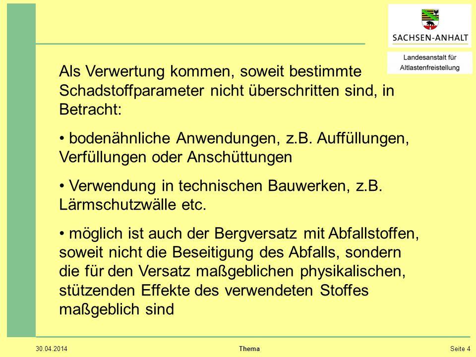 30.04.2014 ThemaSeite 4 Als Verwertung kommen, soweit bestimmte Schadstoffparameter nicht überschritten sind, in Betracht: bodenähnliche Anwendungen, z.B.