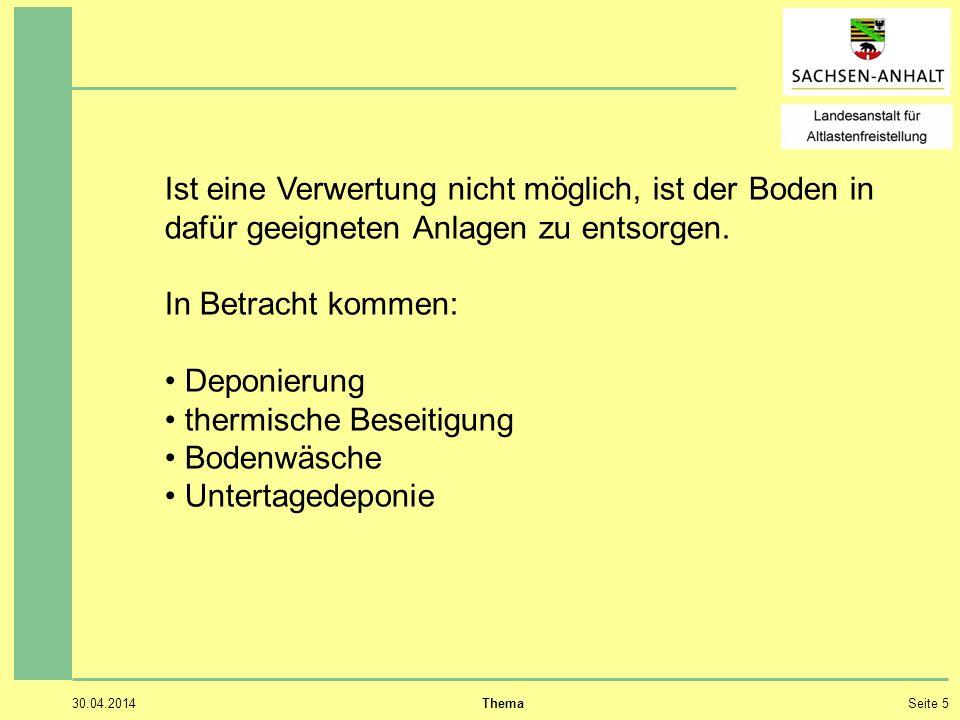 30.04.2014 ThemaSeite 5 Ist eine Verwertung nicht möglich, ist der Boden in dafür geeigneten Anlagen zu entsorgen.