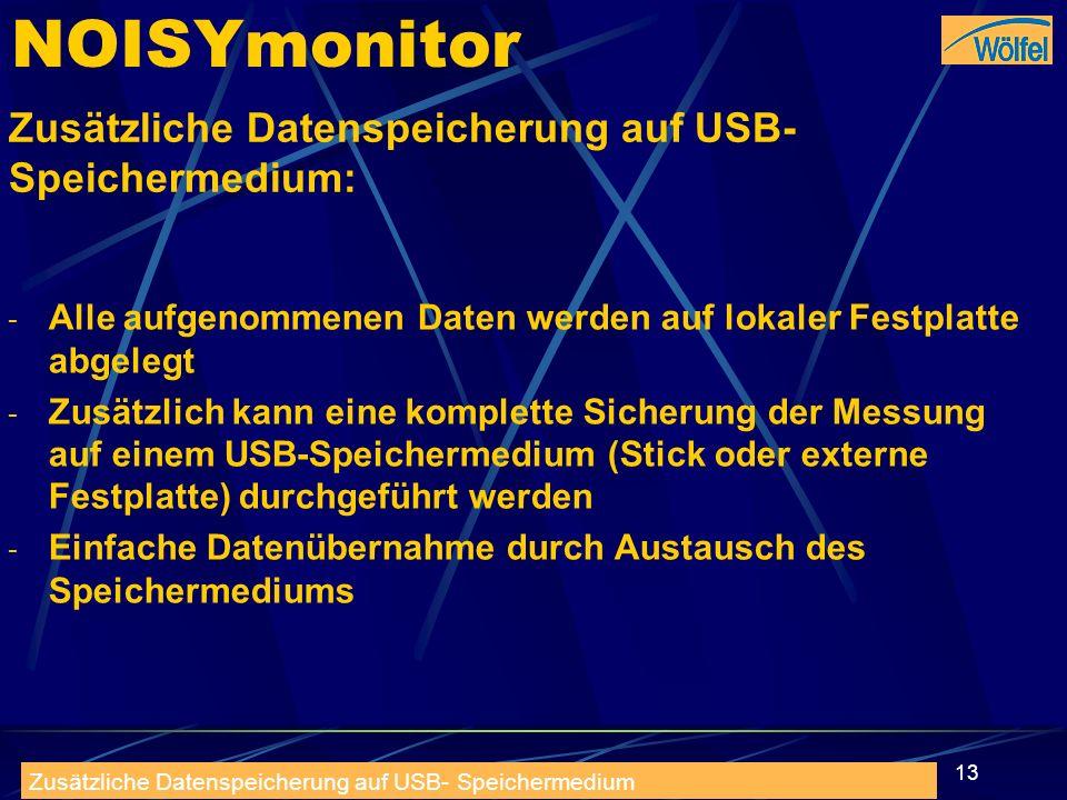 30.09.2008rneuhofer@t-online.de13 NOISYmonitor Zusätzliche Datenspeicherung auf USB- Speichermedium: - Alle aufgenommenen Daten werden auf lokaler Fes