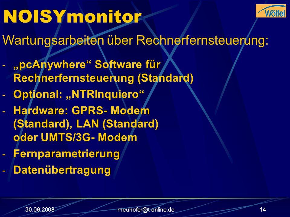 30.09.2008rneuhofer@t-online.de14 NOISYmonitor Wartungsarbeiten über Rechnerfernsteuerung: - pcAnywhere Software für Rechnerfernsteuerung (Standard) -