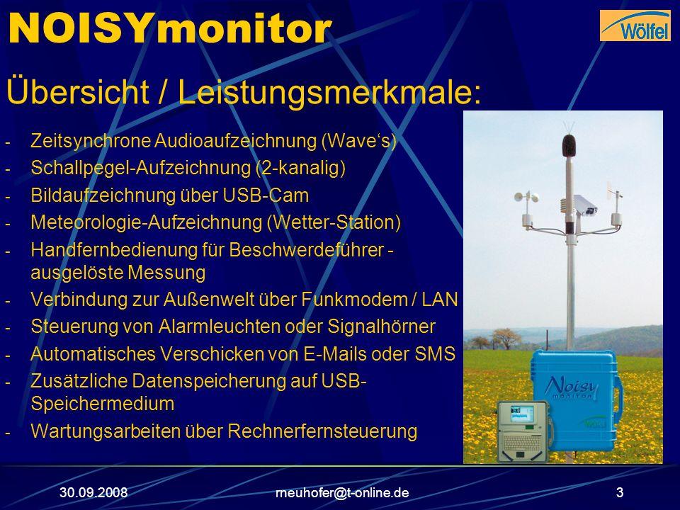 30.09.2008rneuhofer@t-online.de14 NOISYmonitor Wartungsarbeiten über Rechnerfernsteuerung: - pcAnywhere Software für Rechnerfernsteuerung (Standard) - Optional: NTRInquiero - Hardware: GPRS- Modem (Standard), LAN (Standard) oder UMTS/3G- Modem - Fernparametrierung - Datenübertragung