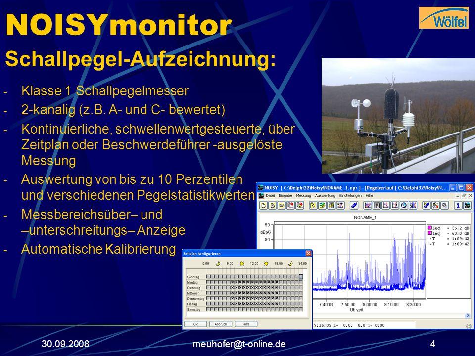 30.09.2008rneuhofer@t-online.de4 NOISYmonitor Schallpegel-Aufzeichnung: - Klasse 1 Schallpegelmesser - 2-kanalig (z.B. A- und C- bewertet) - Kontinuie