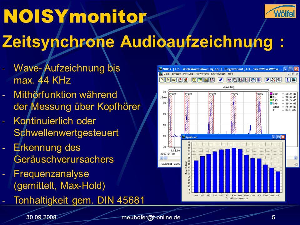 30.09.2008rneuhofer@t-online.de6 NOISYmonitor Bildaufzeichnung über USB-Cam: - Bild- Aufnahmerate bis 1 Sekunde - Online-Anzeige während der Messung - Kontinuierlich oder Schwellenwert- gesteuert - Offline-Auswertung über Bild- Navigator - Film-Funktion inkl.