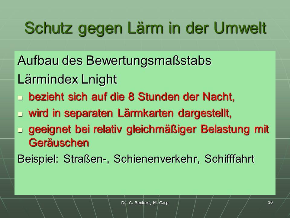 Dr. C. Beckert, M. Carp 10 Schutz gegen Lärm in der Umwelt Aufbau des Bewertungsmaßstabs Lärmindex Lnight bezieht sich auf die 8 Stunden der Nacht, be