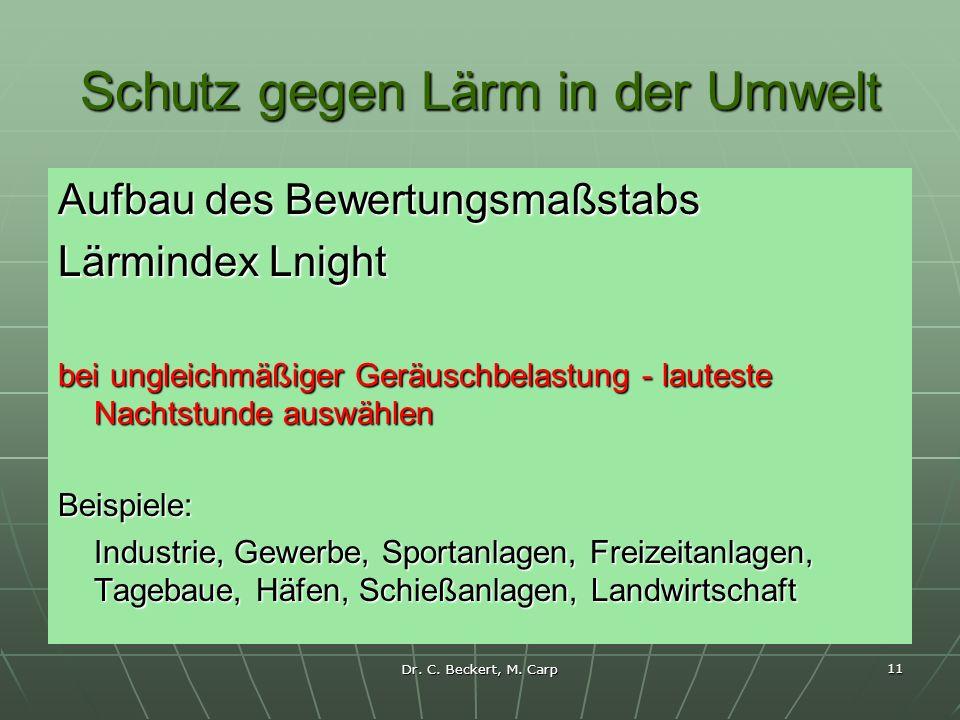 Dr. C. Beckert, M. Carp 11 Schutz gegen Lärm in der Umwelt Aufbau des Bewertungsmaßstabs Lärmindex Lnight bei ungleichmäßiger Geräuschbelastung - laut