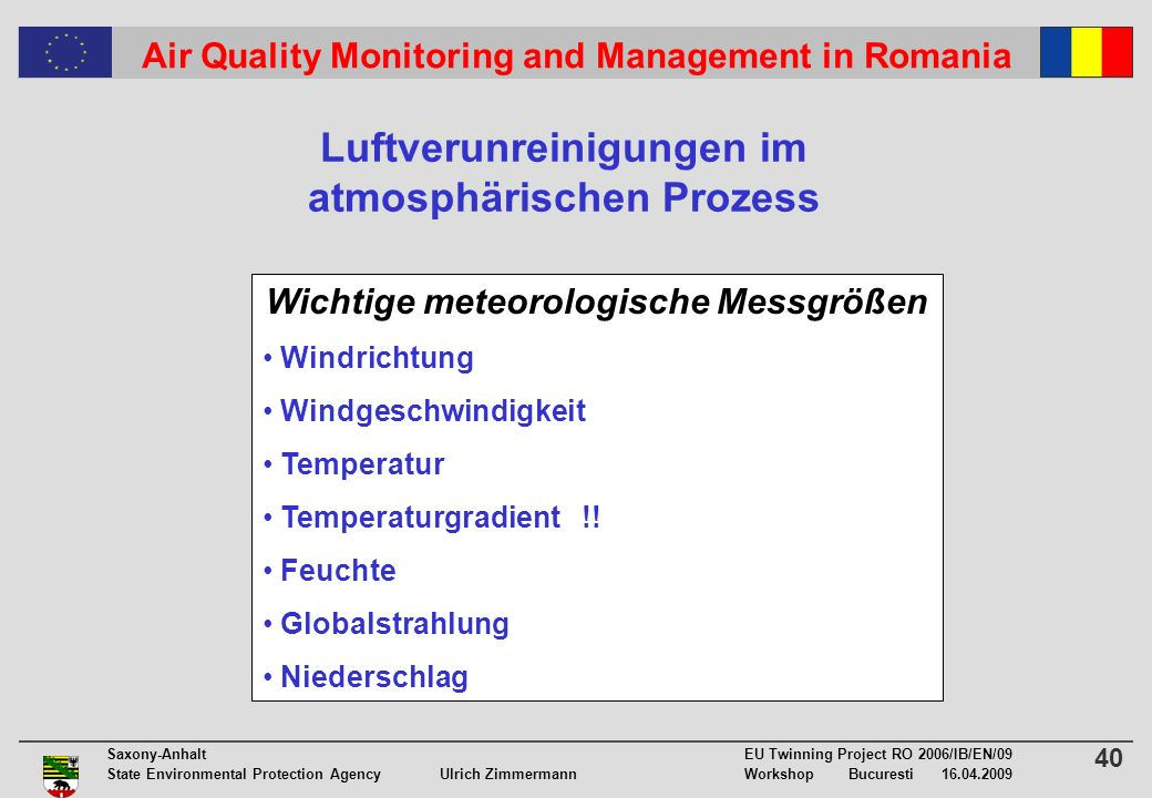 40 Saxony-Anhalt EU Twinning Project RO 2006/IB/EN/09 State Environmental Protection Agency Ulrich ZimmermannWorkshop Bucuresti Air Quality Monitoring and Management in Romania Luftverunreinigungen im atmosphärischen Prozess Wichtige meteorologische Messgrößen Windrichtung Windgeschwindigkeit Temperatur Temperaturgradient !.