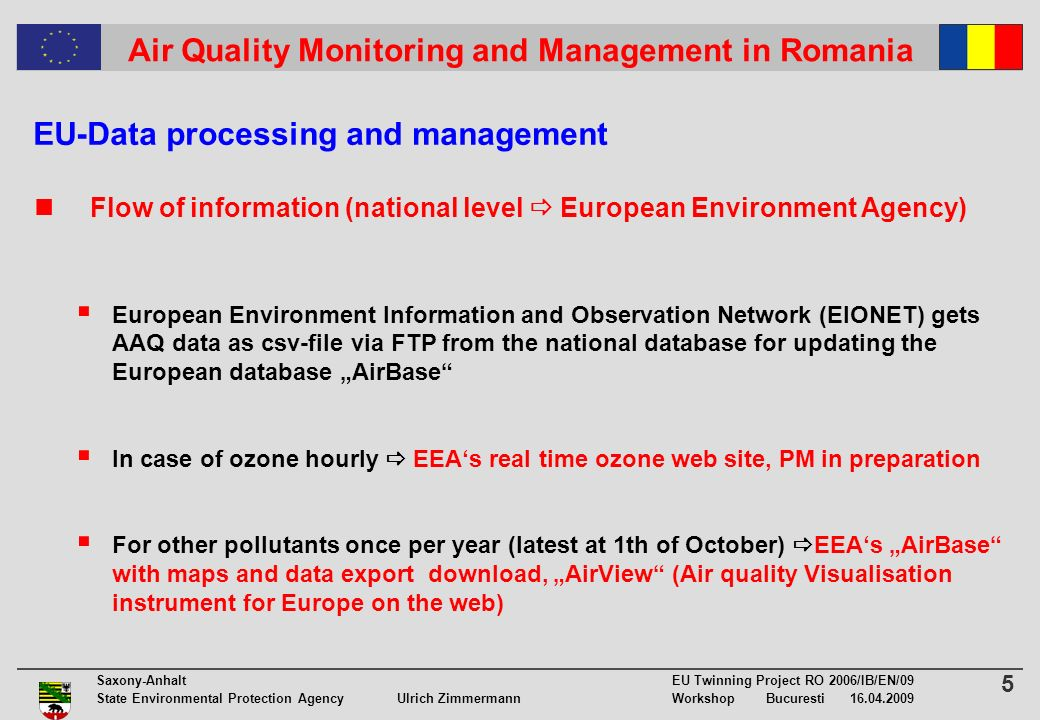 5 Saxony-Anhalt EU Twinning Project RO 2006/IB/EN/09 State Environmental Protection Agency Ulrich ZimmermannWorkshop Bucuresti 16.04.2009 Air Quality Monitoring and Management in Romania EU-Data processing and management Flow of information (national level European Environment Agency) European Environment Information and Observation Network (EIONET) gets AAQ data as csv-file via FTP from the national database for updating the European database AirBase In case of ozone hourly EEAs real time ozone web site, PM in preparation For other pollutants once per year (latest at 1th of October) EEAs AirBase with maps and data export download, AirView (Air quality Visualisation instrument for Europe on the web)