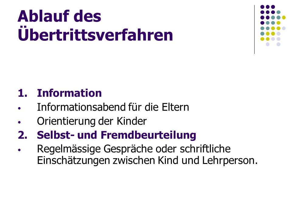 Ablauf des Übertrittsverfahren 1.Information Informationsabend für die Eltern Orientierung der Kinder 2.Selbst- und Fremdbeurteilung Regelmässige Gesp