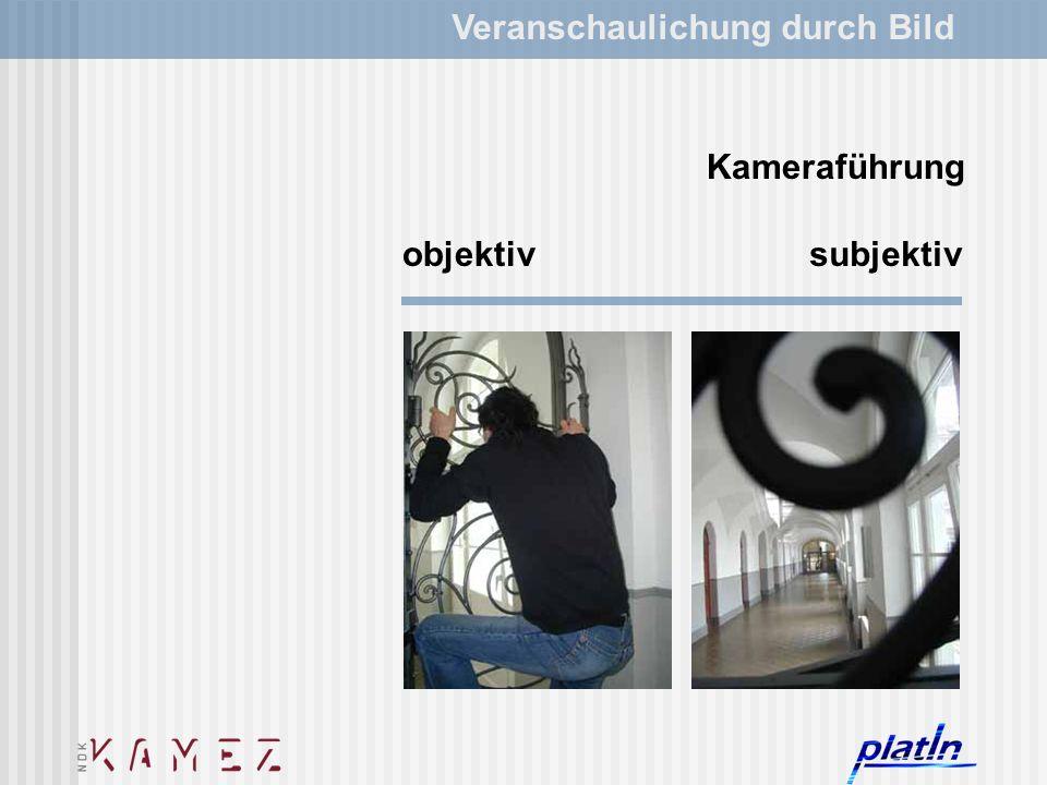 Veranschaulichung durch Bild subjektivobjektiv Kameraführung