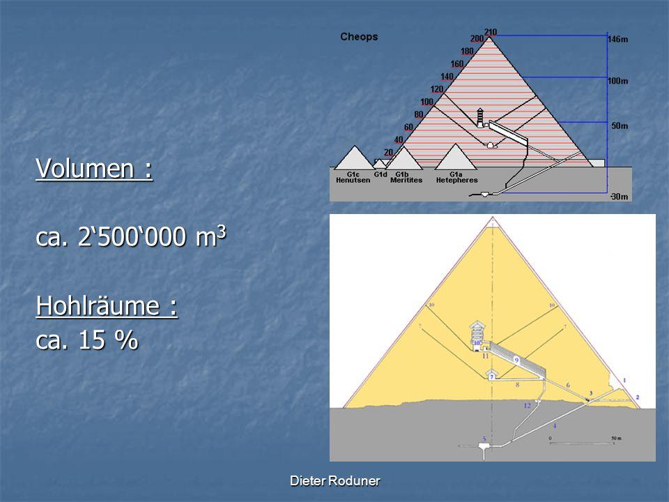 Dieter Roduner Volumen : ca. 2500000 m 3 Hohlräume : ca. 15 %