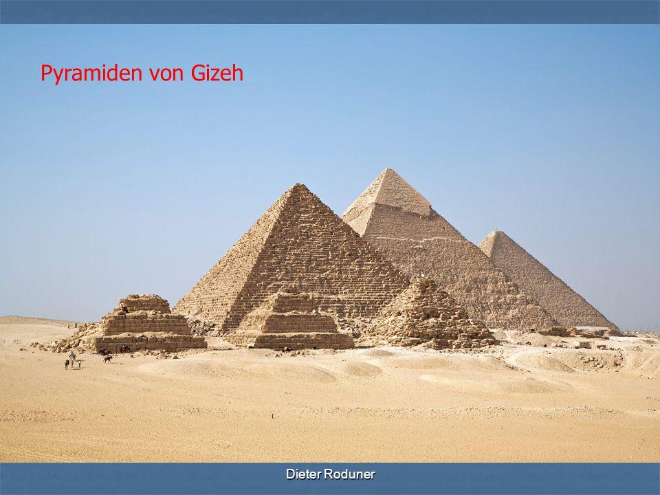 Dieter Roduner Die Pyramiden von Gizeh in Ägypten gehören zu den bekanntesten und ältesten Bauwerken der Menschheit.ÄgyptenBauwerken Sie befinden sich am westlichen Rand des Niltals, etwa acht Kilometer südwestlich der Stadt Gizeh (Gîza).NiltalsKilometerGizeh Sie sind rund 15 km vom Kairoer Stadtzentrum entfernt und liegen direkt an der Pyramidenstraße (Scharia el-Ahram).Kairoer Sie sind das einzige erhaltene der sieben Weltwunder der Antike.