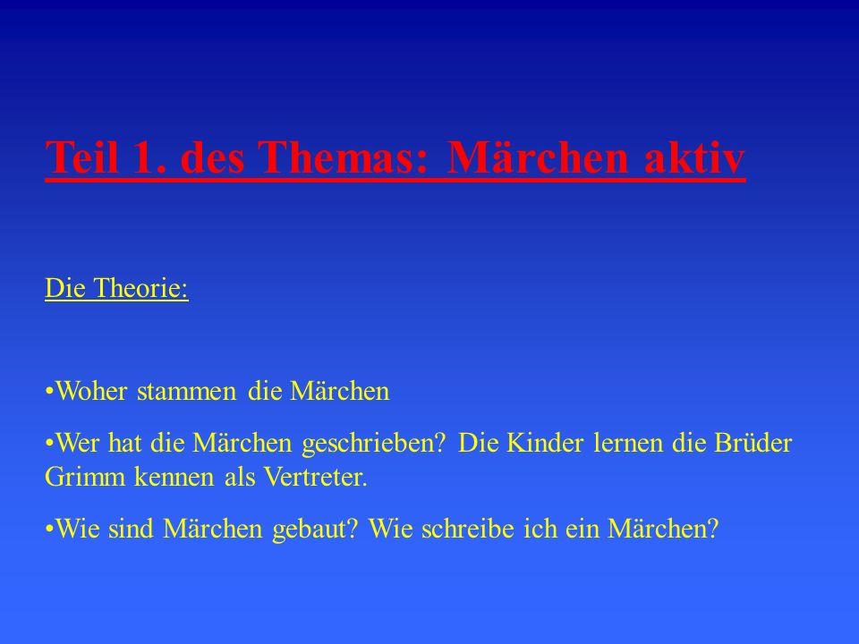 Teil 1. des Themas: Märchen aktiv Die Theorie: Woher stammen die Märchen Wer hat die Märchen geschrieben? Die Kinder lernen die Brüder Grimm kennen al