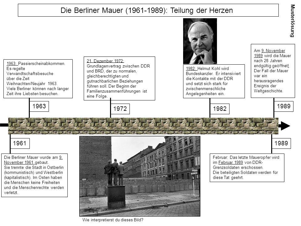 Die Berliner Mauer wurde am 9. November 1961 gebaut. Sie trennte die Stadt in Ostberlin (kommunistisch) und Westberlin (kapitalistisch). Im Osten habe