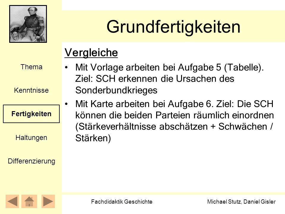 Michael Stutz, Daniel Gisler Fachdidaktik Geschichte Grundfertigkeiten Vergleiche Mit Vorlage arbeiten bei Aufgabe 5 (Tabelle). Ziel: SCH erkennen die