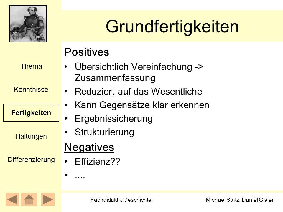 Michael Stutz, Daniel Gisler Fachdidaktik Geschichte Grundfertigkeiten Positives Übersichtlich Vereinfachung -> Zusammenfassung Reduziert auf das Wese