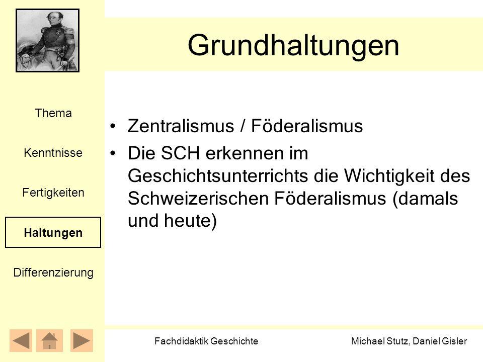 Michael Stutz, Daniel Gisler Fachdidaktik Geschichte Grundhaltungen Zentralismus / Föderalismus Die SCH erkennen im Geschichtsunterrichts die Wichtigk