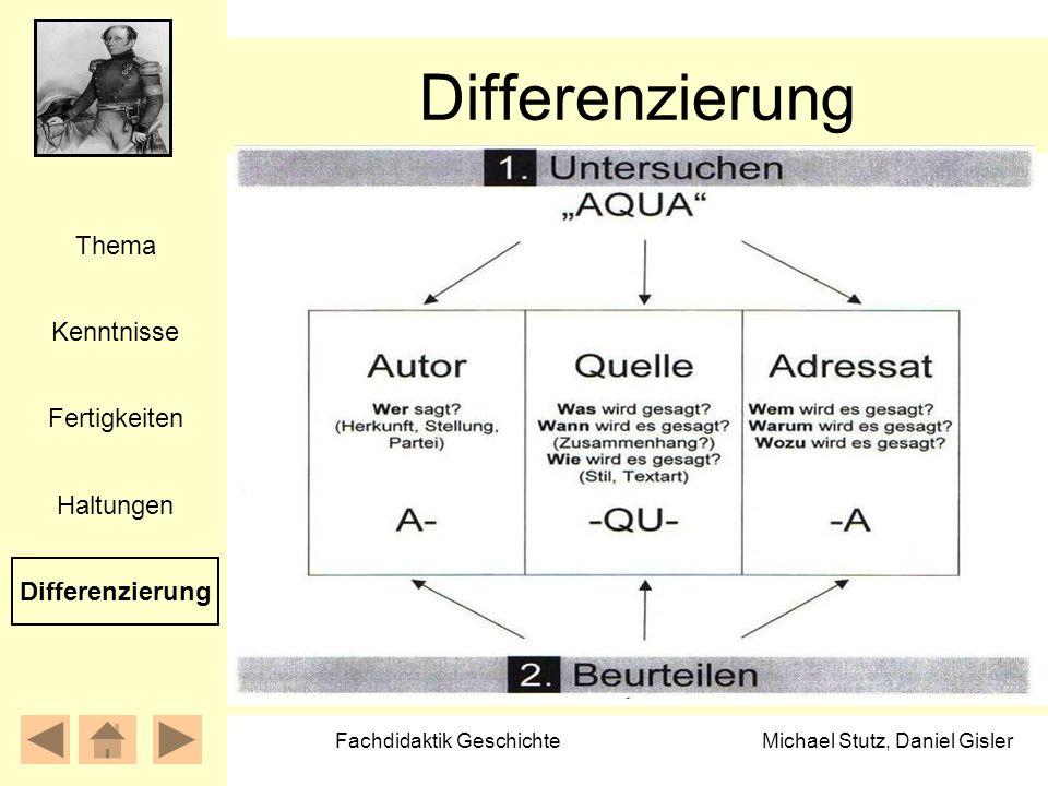 Michael Stutz, Daniel Gisler Fachdidaktik Geschichte Differenzierung Kenntnisse Fertigkeiten Thema Haltungen Differenzierung