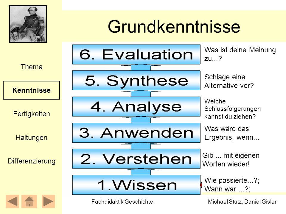 Michael Stutz, Daniel Gisler Fachdidaktik Geschichte Grundkenntnisse Kenntnisse Fertigkeiten Thema Haltungen Differenzierung Wie passierte...?; Wann w