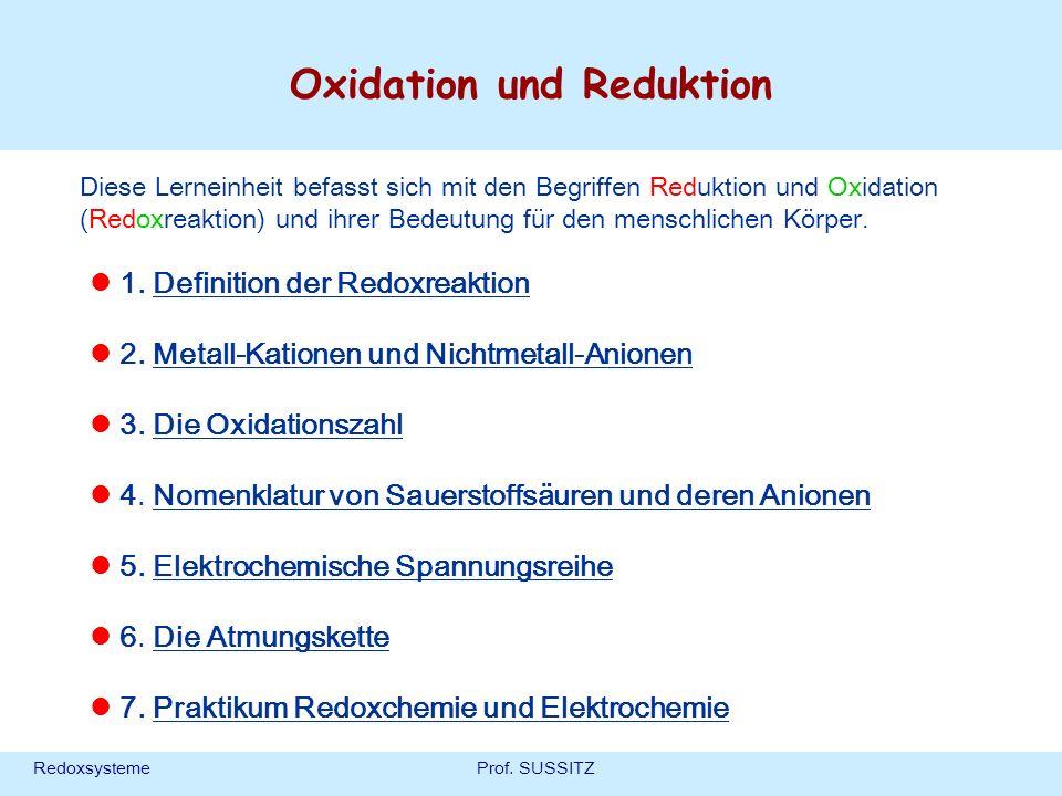 RedoxsystemeProf. SUSSITZ Oxidation und Reduktion 1. Definition der Redoxreaktion 2. Metall-Kationen und Nichtmetall-Anionen 3. Die Oxidationszahl 4.