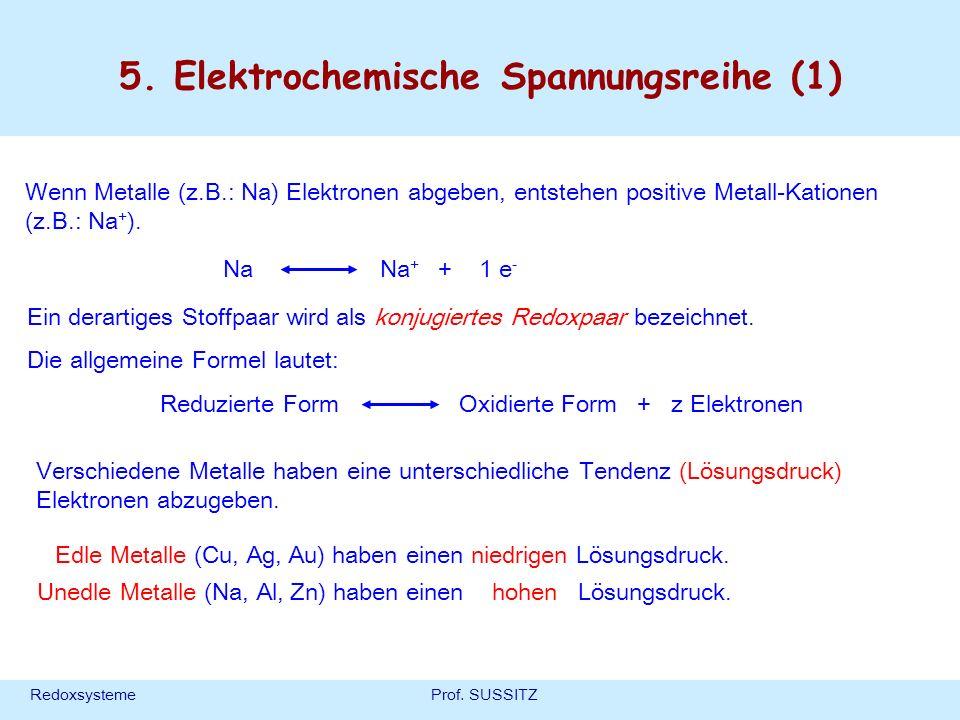RedoxsystemeProf. SUSSITZ 5. Elektrochemische Spannungsreihe (1) Wenn Metalle (z.B.: Na) Elektronen abgeben, entstehen positive Metall-Kationen (z.B.: