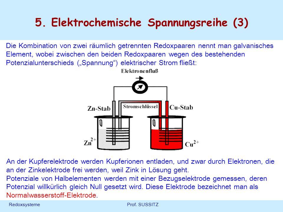 RedoxsystemeProf. SUSSITZ 5. Elektrochemische Spannungsreihe (3) Die Kombination von zwei räumlich getrennten Redoxpaaren nennt man galvanisches Eleme