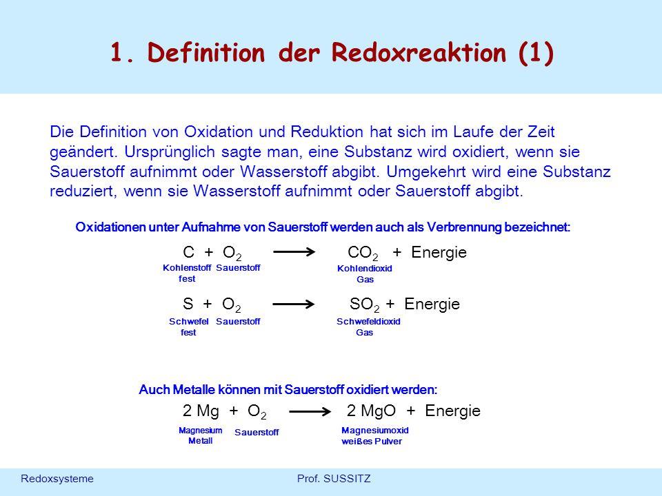 RedoxsystemeProf. SUSSITZ 1. Definition der Redoxreaktion (1) Die Definition von Oxidation und Reduktion hat sich im Laufe der Zeit geändert. Ursprüng