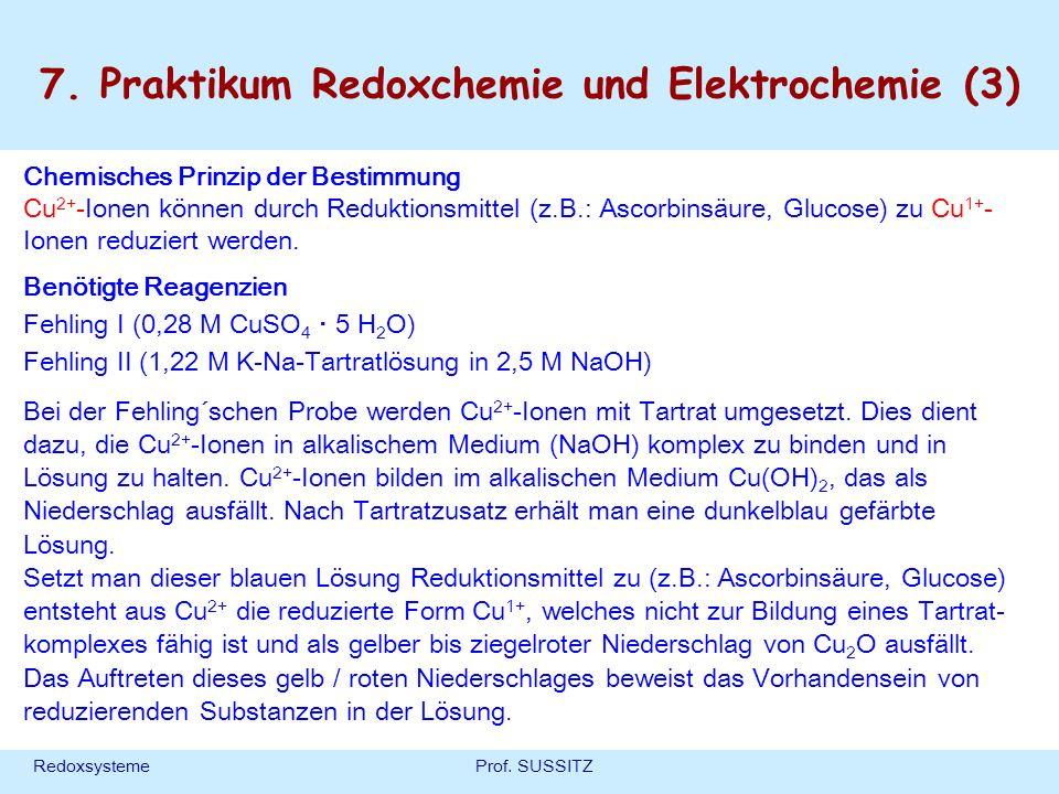 RedoxsystemeProf. SUSSITZ Chemisches Prinzip der Bestimmung Cu 2+ -Ionen können durch Reduktionsmittel (z.B.: Ascorbinsäure, Glucose) zu Cu 1+ - Ionen
