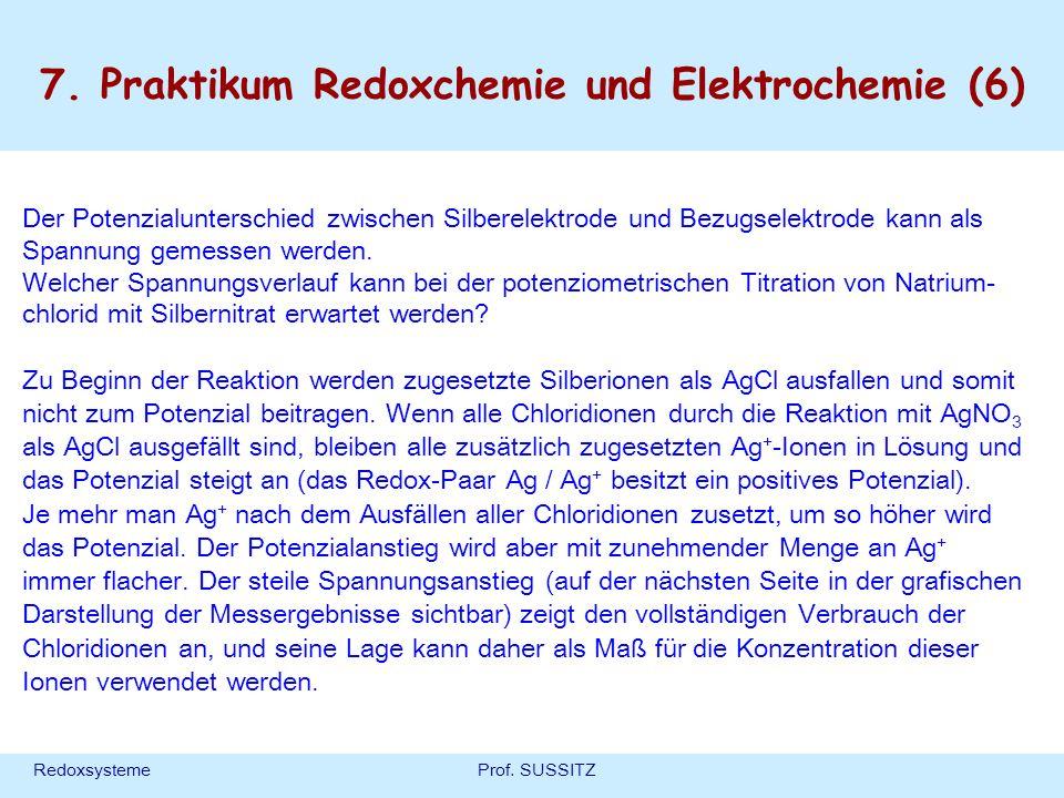 RedoxsystemeProf. SUSSITZ 7. Praktikum Redoxchemie und Elektrochemie (6) Der Potenzialunterschied zwischen Silberelektrode und Bezugselektrode kann al