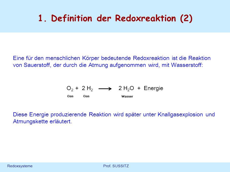 RedoxsystemeProf. SUSSITZ 1. Definition der Redoxreaktion (2) Eine für den menschlichen Körper bedeutende Redoxreaktion ist die Reaktion von Sauerstof