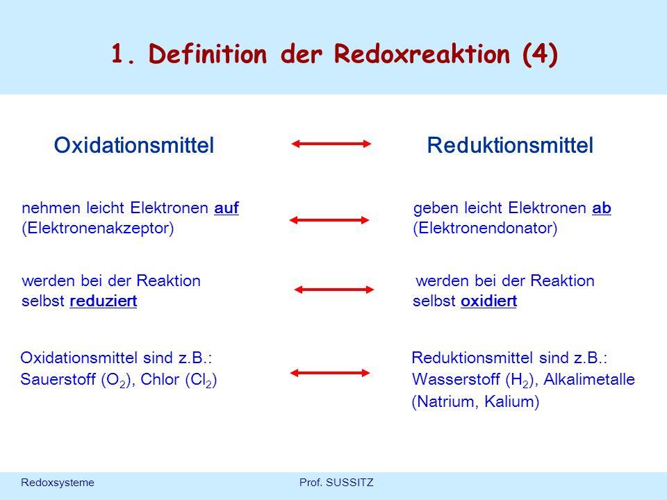RedoxsystemeProf. SUSSITZ 1. Definition der Redoxreaktion (4) nehmen leicht Elektronen auf geben leicht Elektronen ab (Elektronenakzeptor) (Elektronen