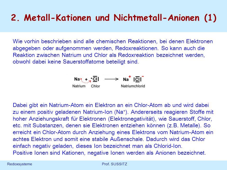 RedoxsystemeProf. SUSSITZ 2. Metall-Kationen und Nichtmetall-Anionen (1) Wie vorhin beschrieben sind alle chemischen Reaktionen, bei denen Elektronen