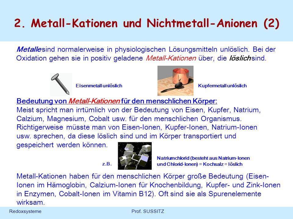 RedoxsystemeProf. SUSSITZ 2. Metall-Kationen und Nichtmetall-Anionen (2) Metalle sind normalerweise in physiologischen Lösungsmitteln unlöslich. Bei d