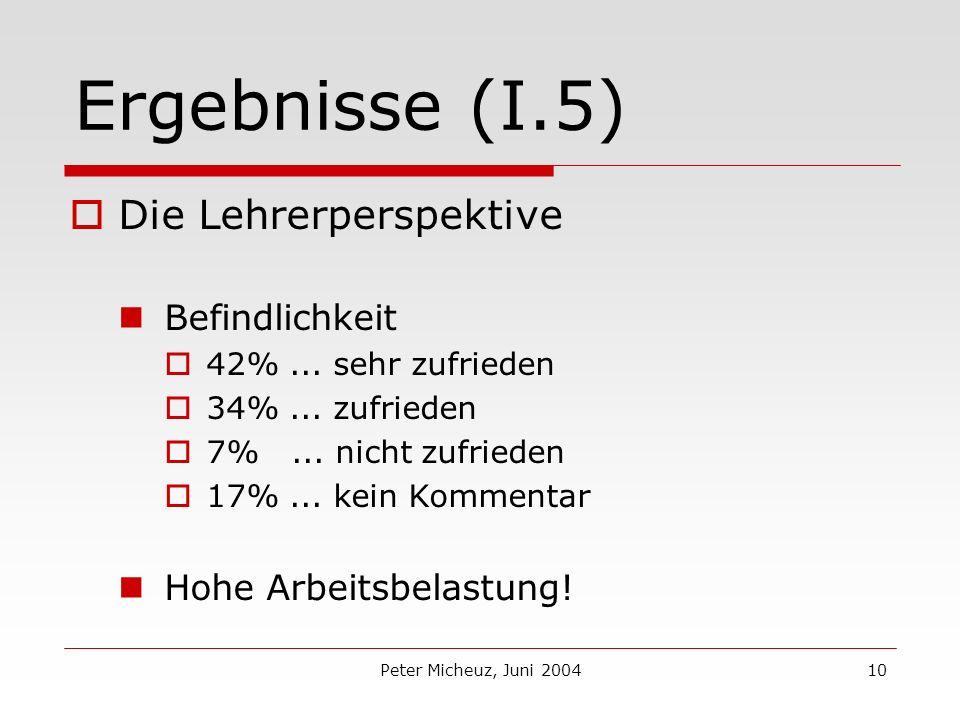 Peter Micheuz, Juni 200410 Ergebnisse (I.5) Die Lehrerperspektive Befindlichkeit 42%...