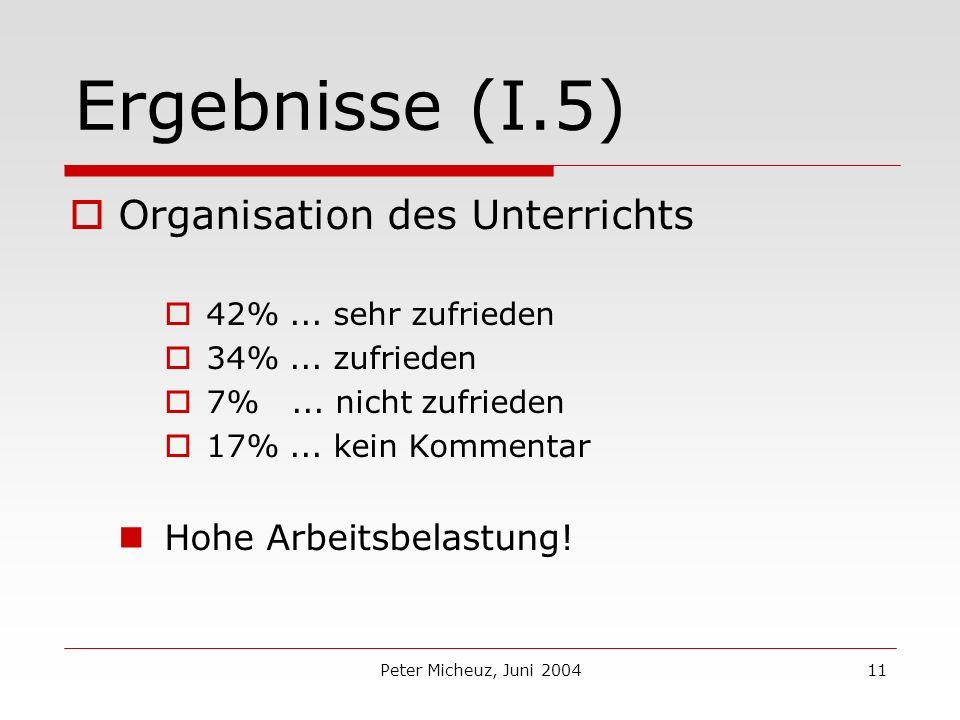 Peter Micheuz, Juni 200411 Ergebnisse (I.5) Organisation des Unterrichts 42%...