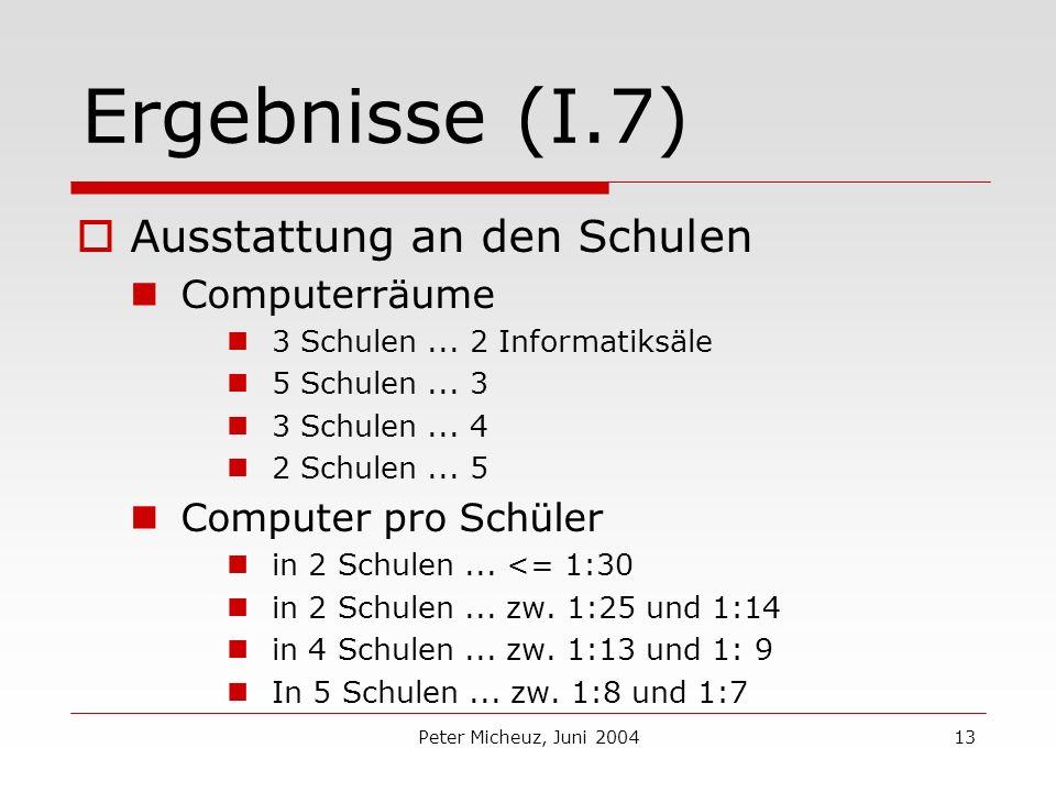 Peter Micheuz, Juni 200413 Ergebnisse (I.7) Ausstattung an den Schulen Computerräume 3 Schulen...