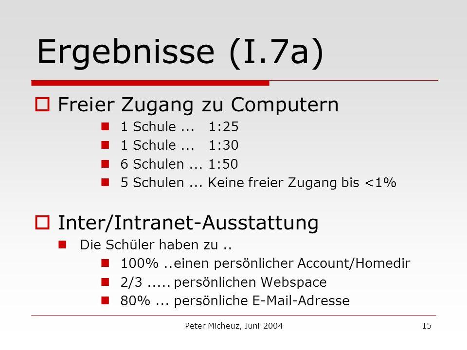 Peter Micheuz, Juni 200415 Ergebnisse (I.7a) Freier Zugang zu Computern 1 Schule...