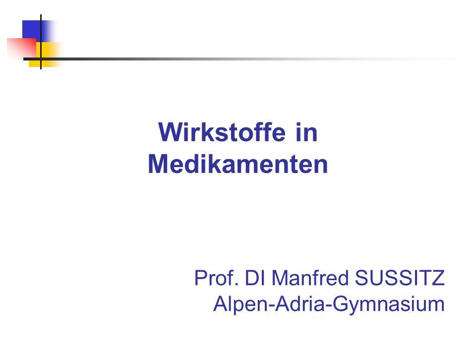 Wirkstoffe in Medikamenten Prof. DI Manfred SUSSITZ Alpen-Adria-Gymnasium