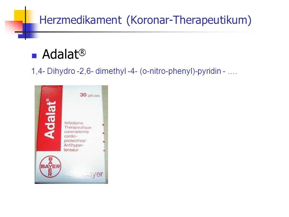 Herzmedikament (Koronar-Therapeutikum) Adalat ® 1,4- Dihydro -2,6- dimethyl -4- (o-nitro-phenyl)-pyridin -....