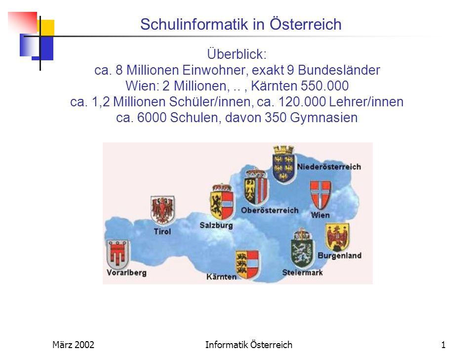 Schulinformatik in Österreich März 2002Informatik Österreich1 Überblick: ca. 8 Millionen Einwohner, exakt 9 Bundesländer Wien: 2 Millionen,.., Kärnten