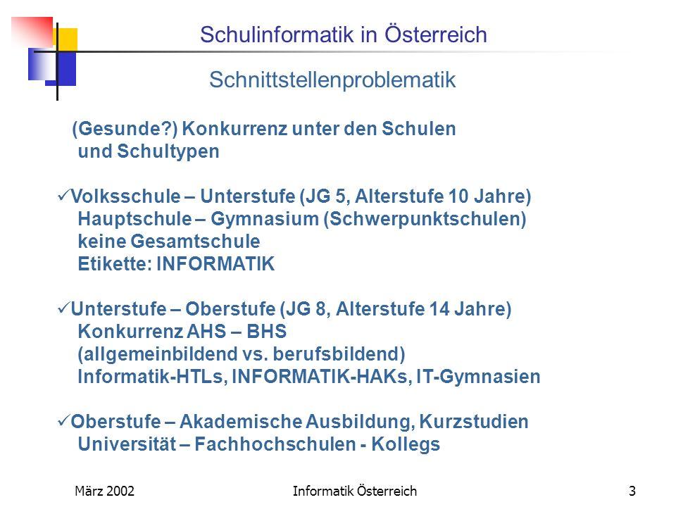 Schulinformatik in Österreich März 2002Informatik Österreich4 Informatiklehrpläne geben sehr viel Spielraum, sind nur Rahmenlehrpläne, momentan in Bewegung AHS (Gymnasium): Lehrplan aus den 80-er Jahren - Unterstufe: bundesweite Initiative, ITG zu forcieren Konzept für Kärnten Schulautonome Regelungen für ein Pflichtfach möglich.
