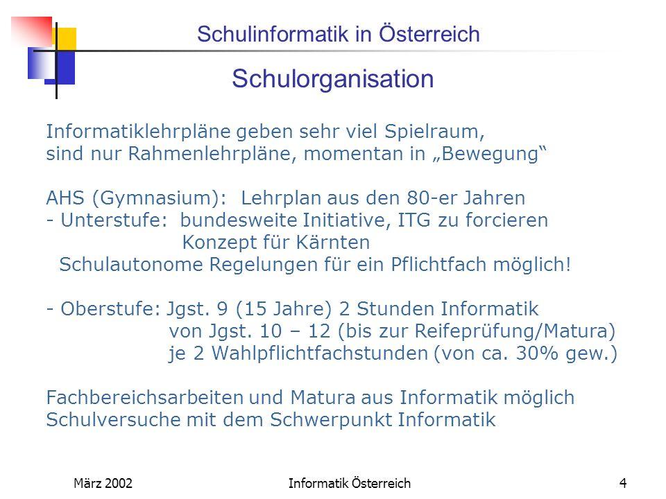 Schulinformatik in Österreich März 2002Informatik Österreich5 Hardware In der letzten Zeit relativ hohe Investitionen in Computerausstattung,vor allem im berufsbildenden Bereich Gute Internetanbindung (Bundesländersache) Problematik der Systemadministration auch in Österreich akut Anstreben regionaler Lösungen